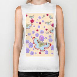 WHITE-RED BUTTERFLIES AMONG FLOATING PINK ROSES Biker Tank