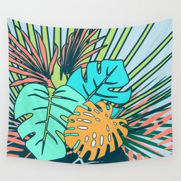 Tropical leaves blue Wall Tapestry
