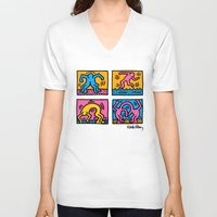 keith haring V-neck T-shirts featuring Keith Haring Pop Shop Quad by cvrcak
