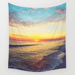 Summer Sunset Ocean Beach - Nature Photography Wall Tapestry