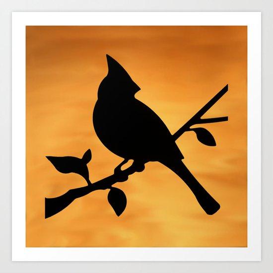 Cardinal Against Sunset Art Print