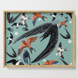 Swallows Martins and Swift pattern Turquoise Serving Tray