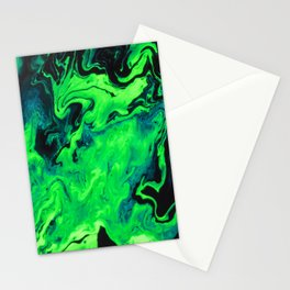 Black and Green Marble Painting Stationery Cards