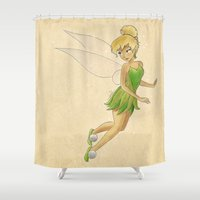 tinker bell Shower Curtains featuring Tinker bell by Joan Pons