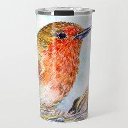 Watercolor Robin and Chicks Travel Mug