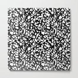Terrazzo Spot 2 White on Black Metal Print