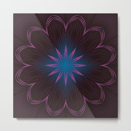 Pink Sunbeam & Blue Diamond Mandala Metal Print