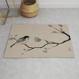 Bird on tree Asian brush painting Rug