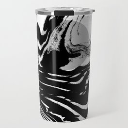 Marble spilled ink suminagashi minimal black and white dorm college outer space marbling Travel Mug