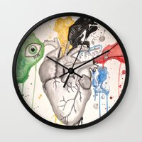 anatomical heart Wall Clocks featuring Anatomical Heart by Hannah Brownfield Camacho
