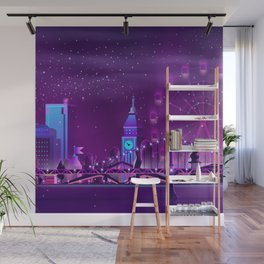 Synthwave Neon City #3 Wall Mural