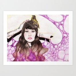 White Cheeked Honeyeater Art Print