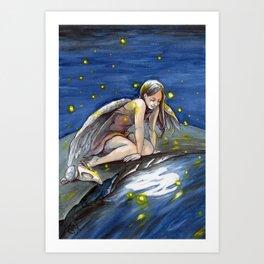 The birdgirl,  the fireflies and the moon Art Print
