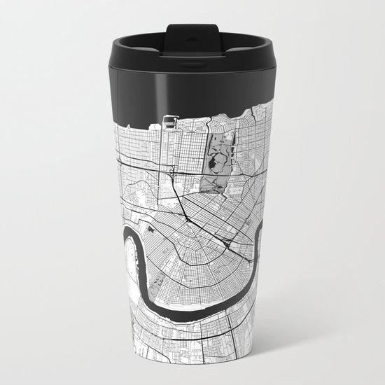 New Orleans Map Gray Metal Travel Mug