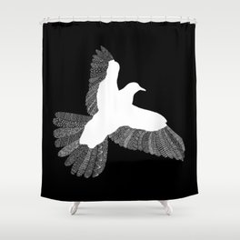 Bird (On Black) Shower Curtain