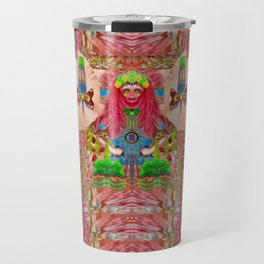 lady panda in the enchanted forest with magic flowers Travel Mug