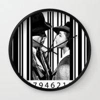 casablanca Wall Clocks featuring Inside a Barcode. by Luigi Tarini