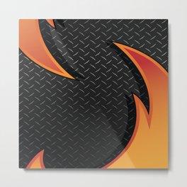 Red/Orange Metal Razor on Dark Diamond Plate Abstract Metal Print