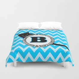 B Cat Chevron Monogram Duvet Cover