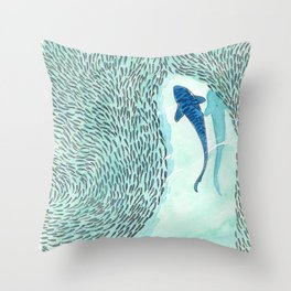 Tiger Shark Hunting Throw Pillow