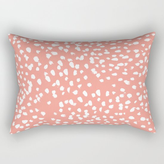 Coral and white minimal painted dots pattern dotty print decor for minimal home office dorm college Rectangular Pillow