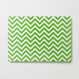 green, white zig zag pattern design Metal Print