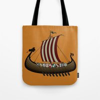 vikings Tote Bags featuring Vikings by mangulica illustrations