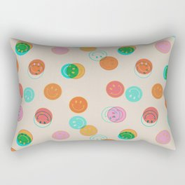 Smiley Face Stamp Print Rectangular Pillow