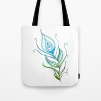 peacock feather Tote Bags featuring Peacock Feather by Jozi