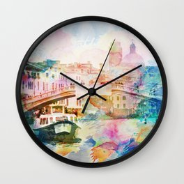Watercolor cityscape painting - Venice, Italy Wall Clock