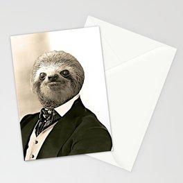 Gentleman Sloth in Authoritative Pose - Cartoon Stationery Cards