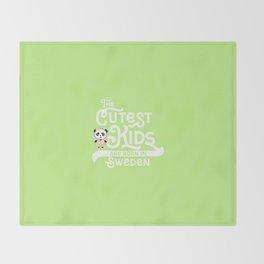 Cutest Kids Panda born in Sweden T-Shirt Throw Blanket