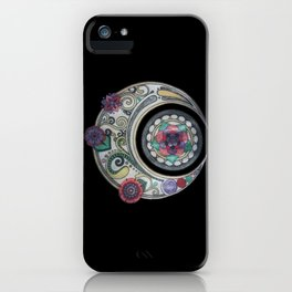 Spiral floral moon iPhone Case