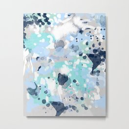 Silva - abstract painting large canvas art print for modern decor cool blue relaxing design urban Metal Print