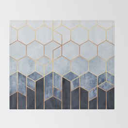 Soft Blue Hexagons Throw Blanket