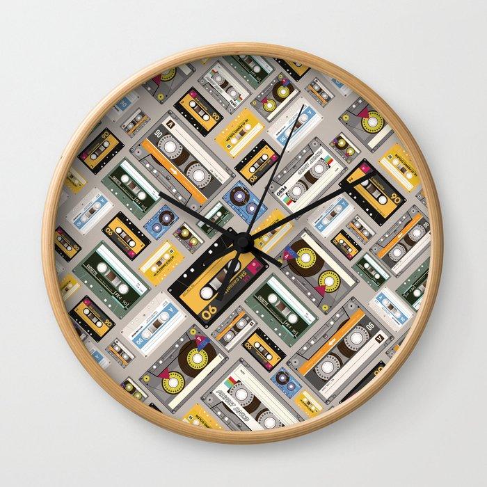 Retro cassette tape pattern 4 Wall Clock