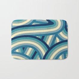 Vintage Faded 70's Style Blue Rainbow Stripes Bath Mat