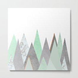MINT COPPER MARBLE GRAY GEOMETRIC MOUNTAINS Metal Print