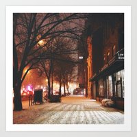 Evening Walk in the Snow in Chelsea Art Print