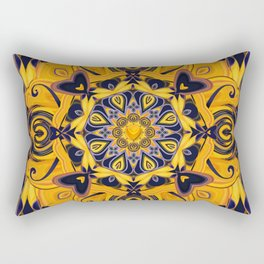 Flame Hearts in Blue and Gold Rectangular Pillow