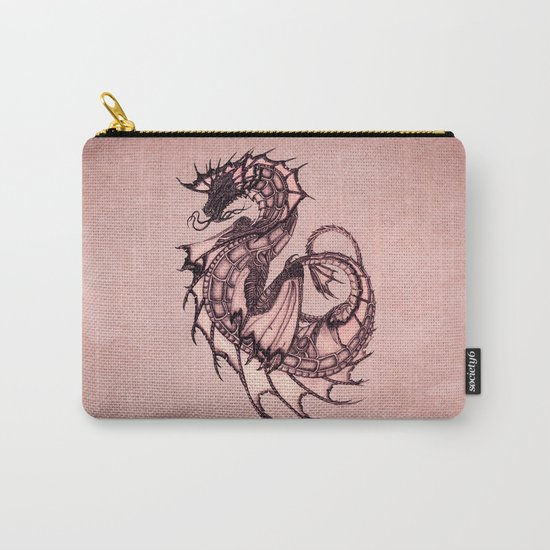 """""""Tsunami"""" by Amber Marine ~ Sea Dragon (Coral Version) ~ Graphite & Charcoal Illustration, (c) 2005 Carry-All Pouch"""