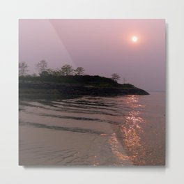 Foggy Sunrise River Landscape Metal Print