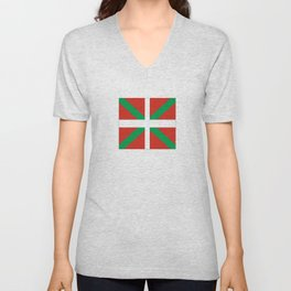 Flag of Euskal Herria-Basque,Pays basque,Vasconia,pais vasco,Bayonne,Dax,Navarre,Bilbao,Pelote,spain Unisex V-Neck