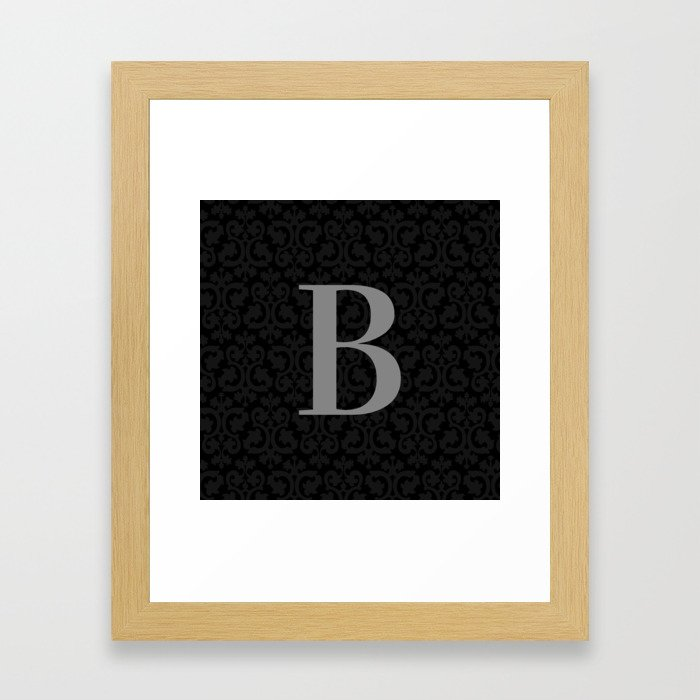 Modern Black Grey Damask Letter B Monogram Framed Art Print
