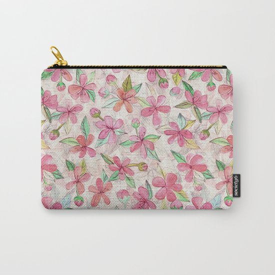 Pink Painted Blossom Pattern Carry-All Pouch