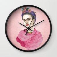 frida kahlo Wall Clocks featuring Frida Kahlo by Barruf