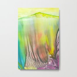 Waterfall of colors - abstract landscape watercolor monotype Metal Print
