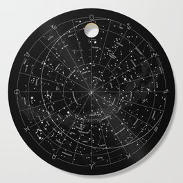 Constellation Map - Black & White Cutting Board
