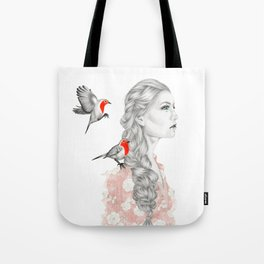 Girl with red robins Tote Bag