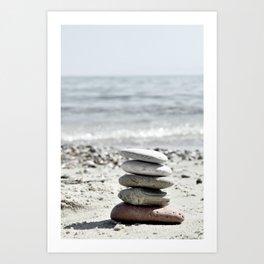 Balancing Stones On The Beach Art Print